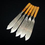 Ножи латунные для рыбы с костяными ручками