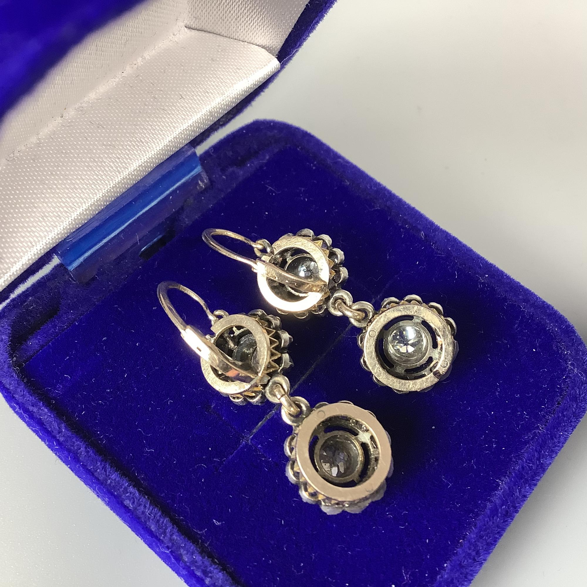 Серьги с бриллиантами двойная «малинка»