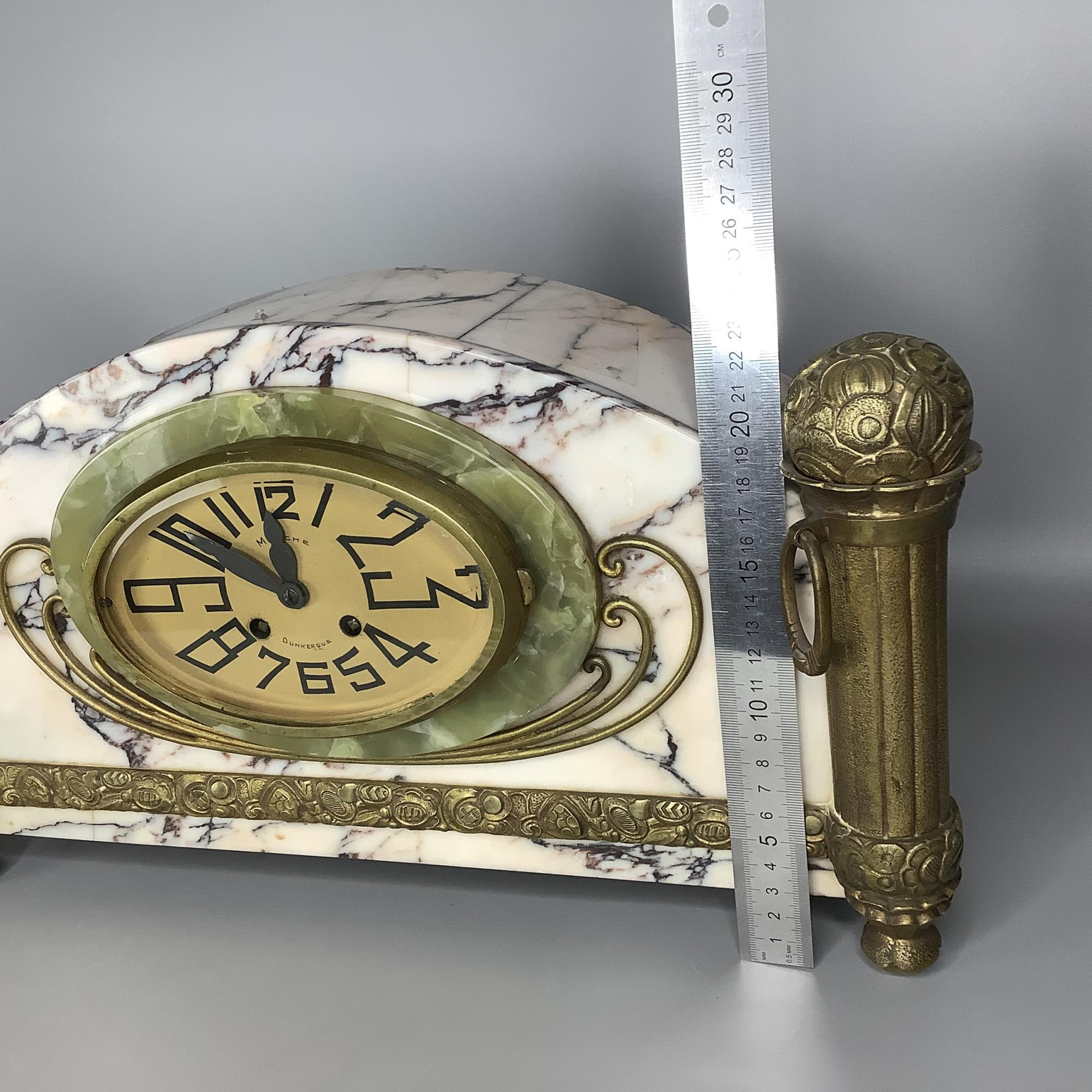Часы каминные с колоннами мрамор Франция